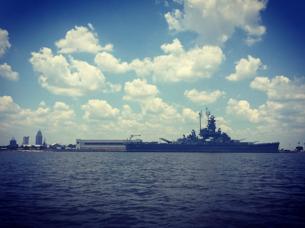 The USS Alabama and Mobile from Mobile Bay